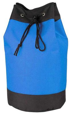 Drawstring Laundry Tote Bag Sack Backpack in Royal and Black