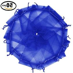 "Wuligirl 50pcs 6x9"" Drawstring Organza Bag Blue Jewelry Pouc"