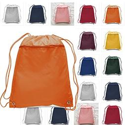 Set of 12 Drawstring Polyester Backpack with Front Pocket