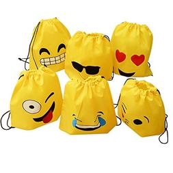 Emoji Drawstring Backpack Bags - 6 Pack Emoji Party Supplies
