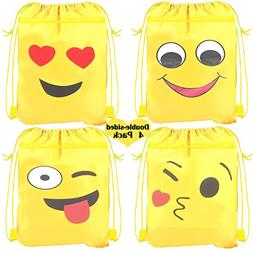 Emoji Drawstring Shoulder Backpack Bags Bulk for Kids, Kiddi