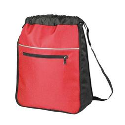 Expandable Drawstring Backpack Sack in Red