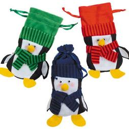Felt Penguin Drawstring Winter Christmas Holiday Gift Bags