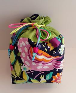 Free Shipping -Hand Made Drawstring Bag -Purple/ multi color