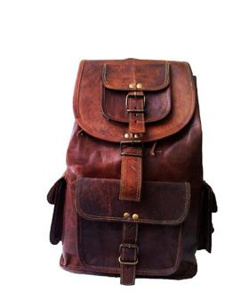 "jaald 16"" Genuine Leather Retro Rucksack Backpack College Ba"