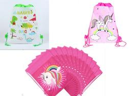Girls Cartoon Pony Unicorn Non-Woven Drawstring Bag Kids Swi