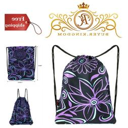Girls Drawstring Backpack Bag Sackpack Gymsack Beach Tote Tr