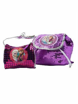 "Girls Frozen Elsa Olaf & Anna Drawstring 8"" Backpack & Bag P"