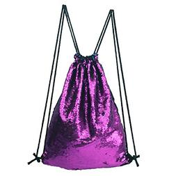 Glitter Sequins Backpack Drawstring Backpack Sackpack Outdoo