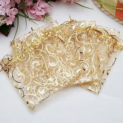 Golden Drawstring Organza Pouches Wedding Gift Jewellery Can