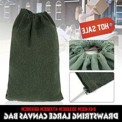 Green Canvas Drawstring Large Bag Pouch Clothes Storage Home