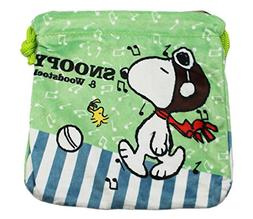 Green Peanuts Snoopy Music Notes Drawstring Marbles Travel B