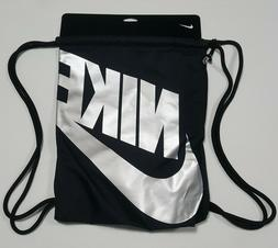 Nike Gym Bag Black silver BA6004-010 draw string zipper side