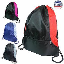 Gym Sack Bag Backpack Drawstring Closure With Zipper Front P