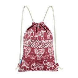 Miomao Gym Sackpack Drawstring Backpack Elephant Cinch Pack