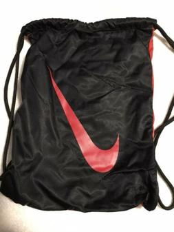 NIKE GYMSACK Black And Red Drawstring Bag Backpack Cinch Sac