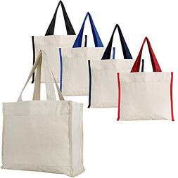 Heavy Canvas Reusable Tote Bags with Front Pocket, Side and
