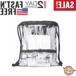 Heavy Duty LARGE Clear Drawstring Bag Stadium Security Appro