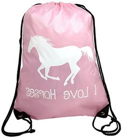 "Horse Backpack--Pink, ""I Love Horses"" Drawstring Bag --Cute"