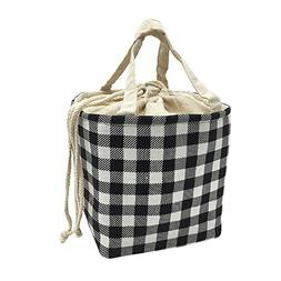 insulated lunch bag black white