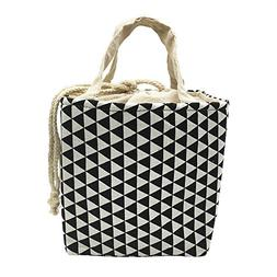 Homele Insulated Lunch Bag Black and White Drawstring Lunch