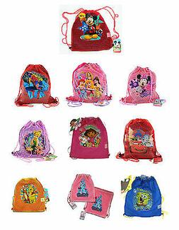 Disney Kids Boys Girls Sling Tote Drawstring Net Mesh Backpa