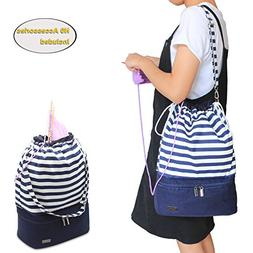 Teamoy Knitting Bag, Drawstring Travel Shoulder Tote Bag Org