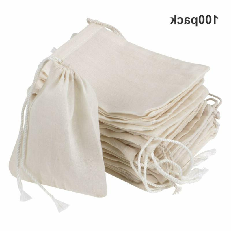 100 Pack Drawstring Cotton Bags Muslin Bags Large Spice Herb