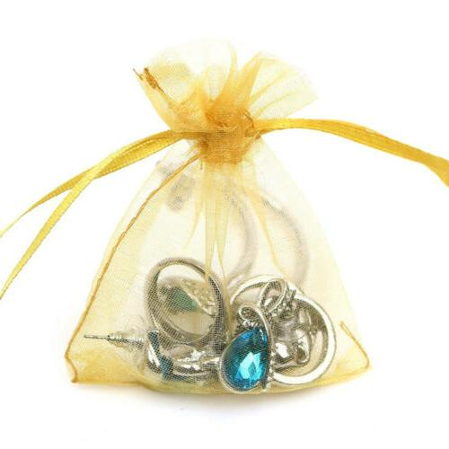 200pcs Sheer Drawstring Organza Favor Bags