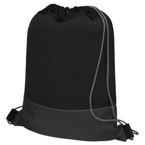 Black Drawstring Cinch Bag Tote School Sport