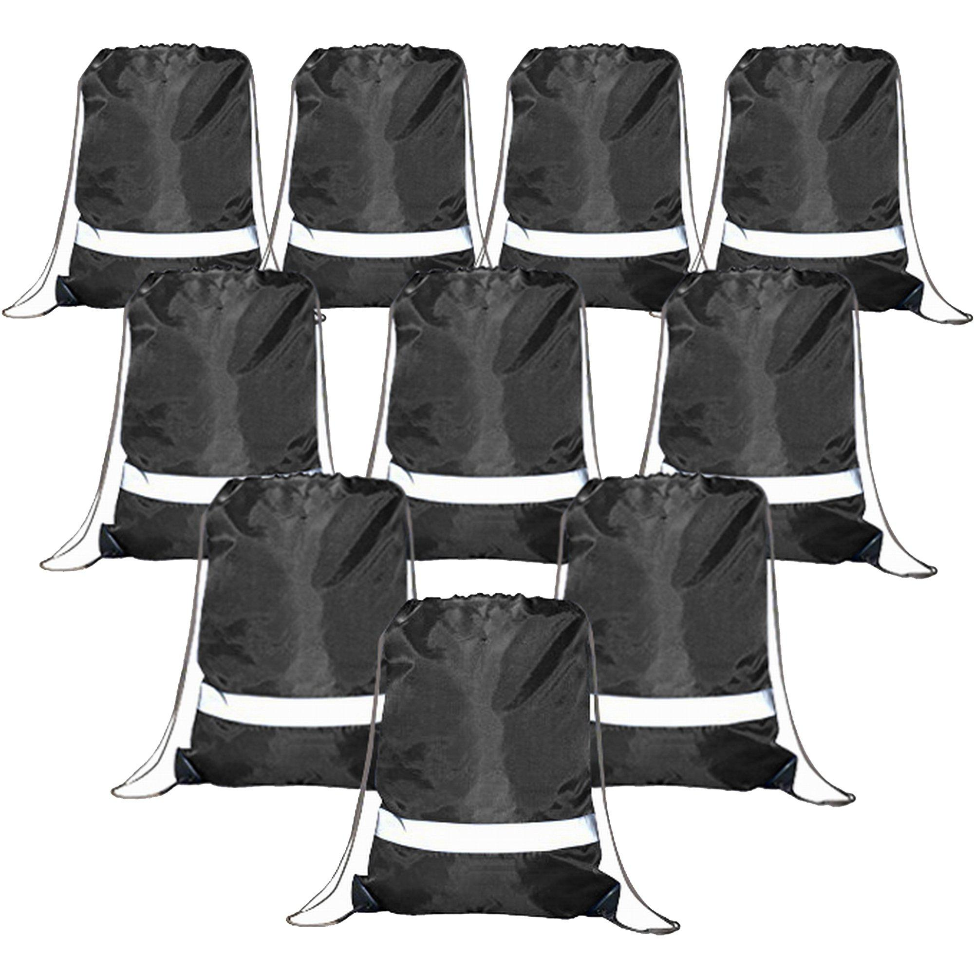 Drawstring Backpack Bags Reflective 10 Pack, Promotional Spo