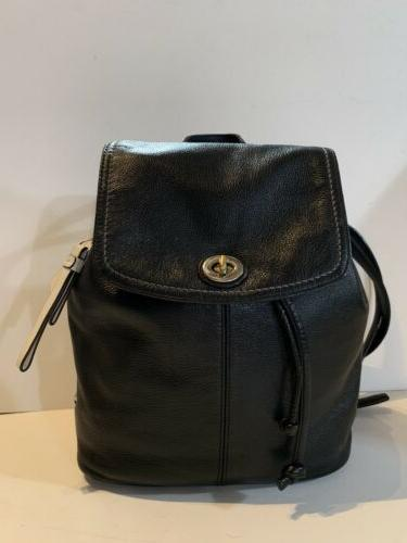 black leather park flap backpack turnlock drawstring