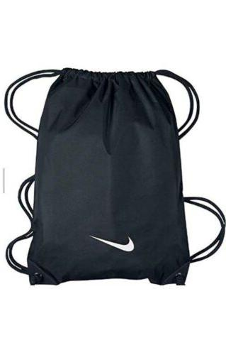 black nylon drawstring gym bag backpack