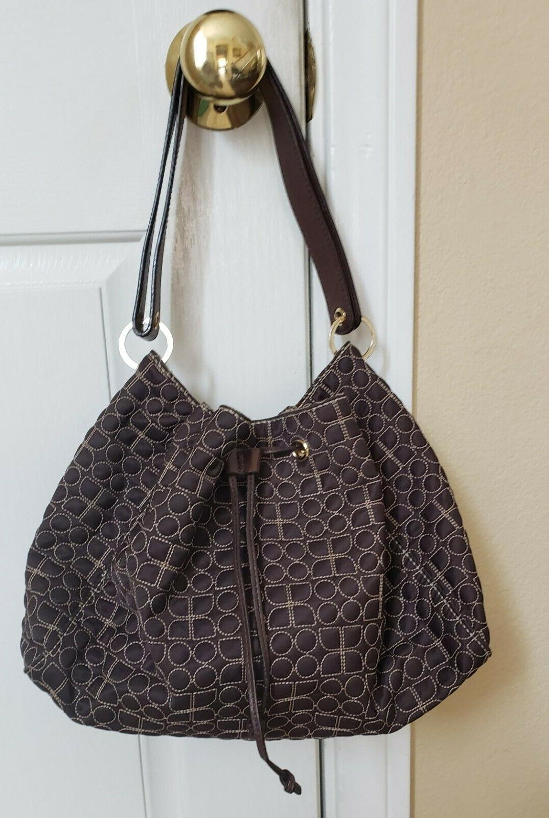 brown bag drawstring closure shoulder bag