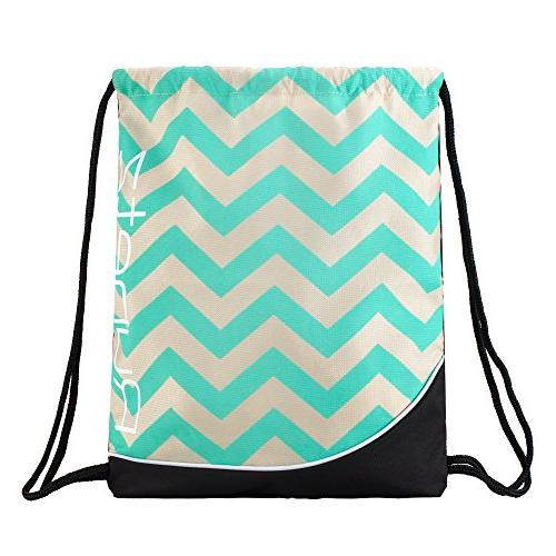"Drawstring Backpack 17.5"" x Bag for or Travel Bags Items Necessities Pocket Chevron Teal"