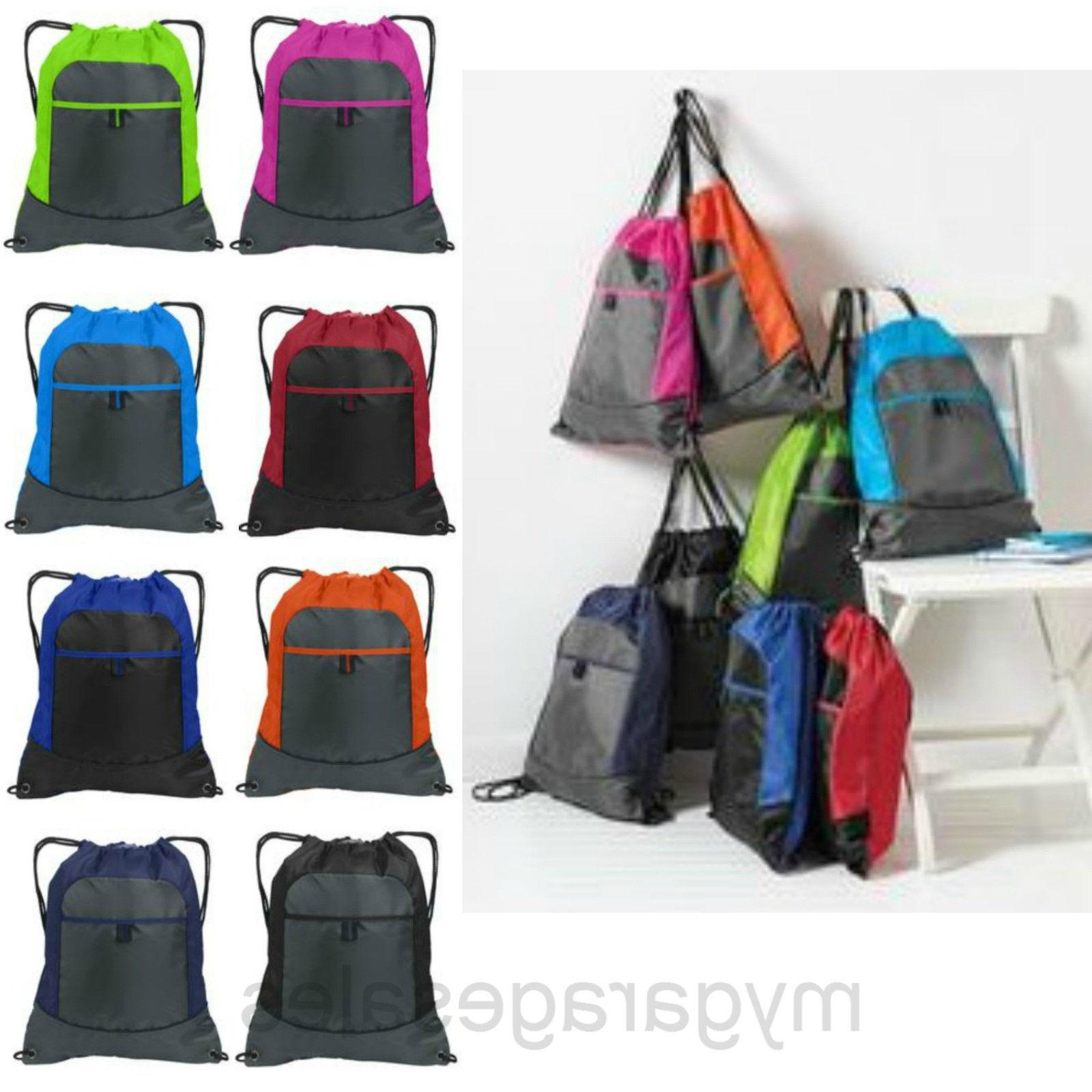 colorblock drawstring backck cinch sack tote gym