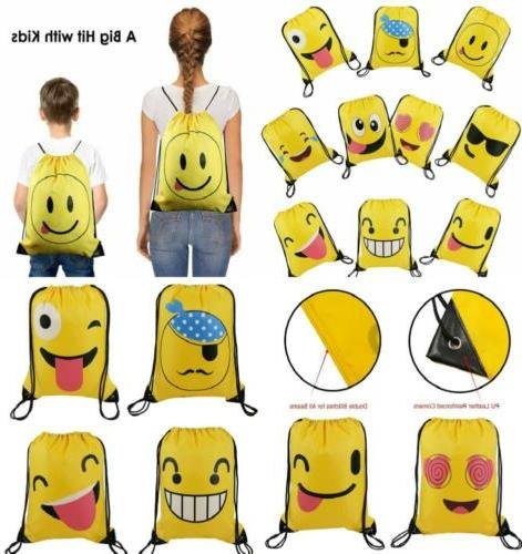 Cute Emoji Cartoon Drawstring Backpack Bags for Kids Girls a