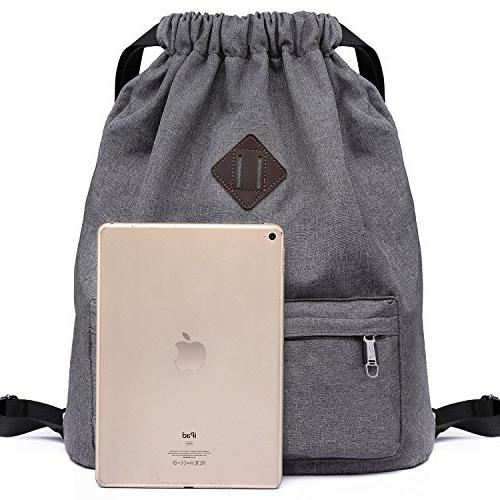 Drawstring Sports Gym Yoga Rucksack for Men and Women-Dark Grey