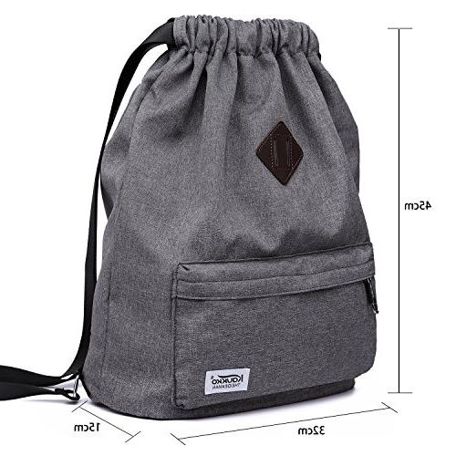 Drawstring Sports Backpack Gym Rucksack for Women-Dark Grey
