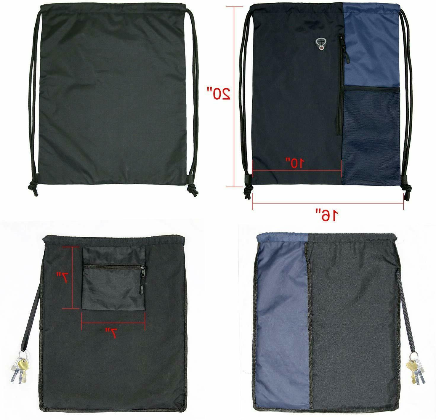 Drawstring Backpack Sports Travel Men Large with Zipper New