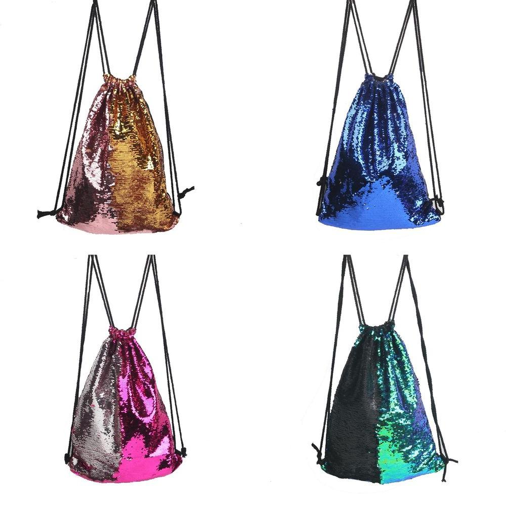 EP_ Fashion Girl Sequins String Drawstring Backpack Sack Tot