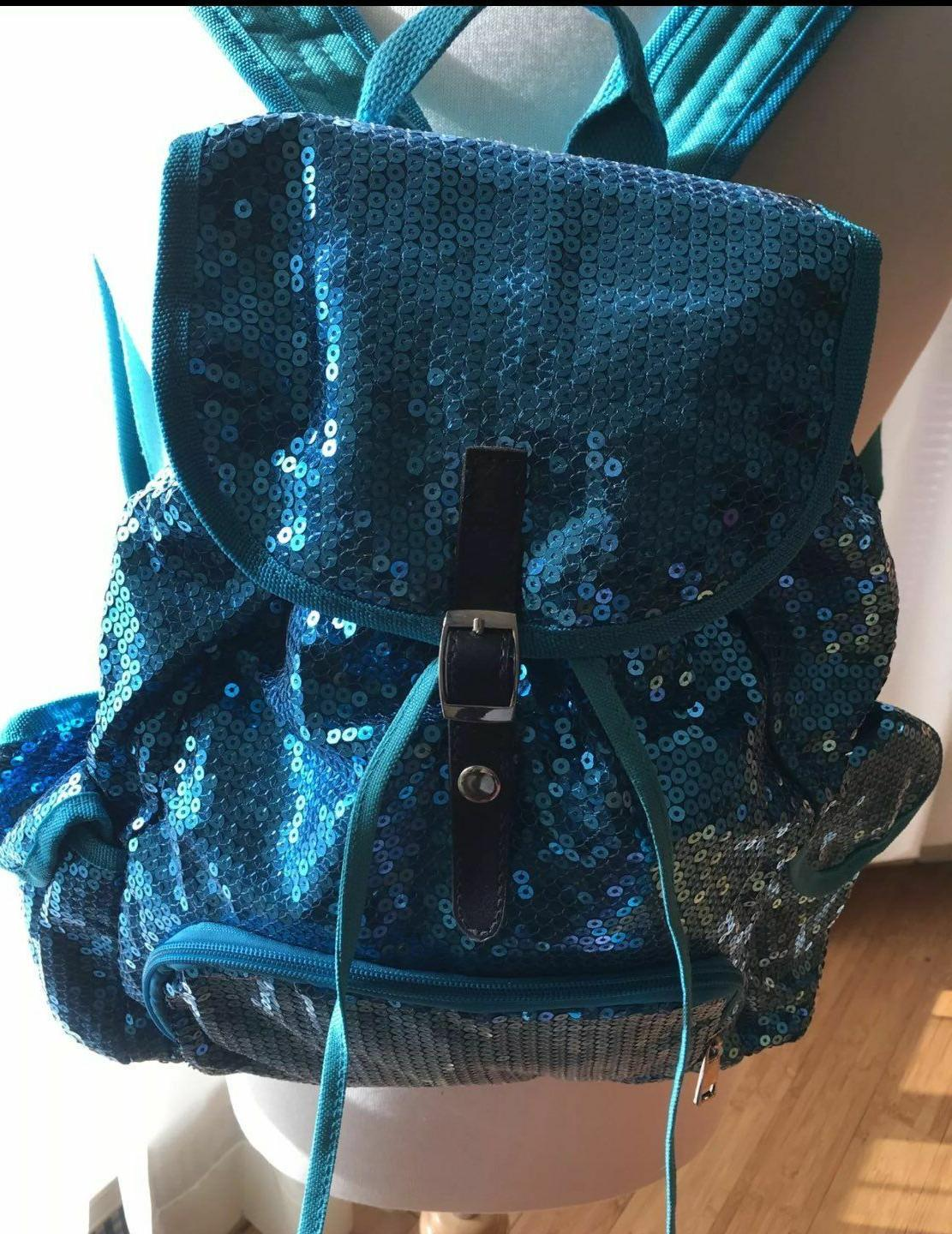 Fashion Women Blue Sequins Front Drawstring Backpack School