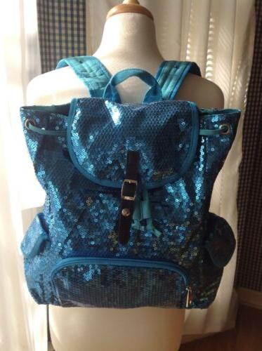 Fashion Women Sequins Front Zipper Backpack &