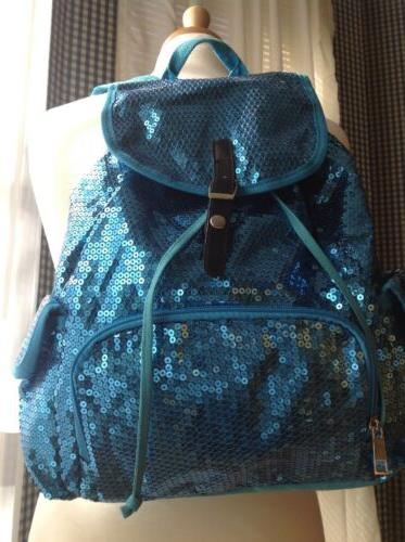 fashion women blue sequins front zipper drawstring