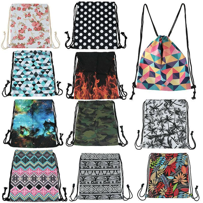 unisex drawstring school tote casual backpack cinch