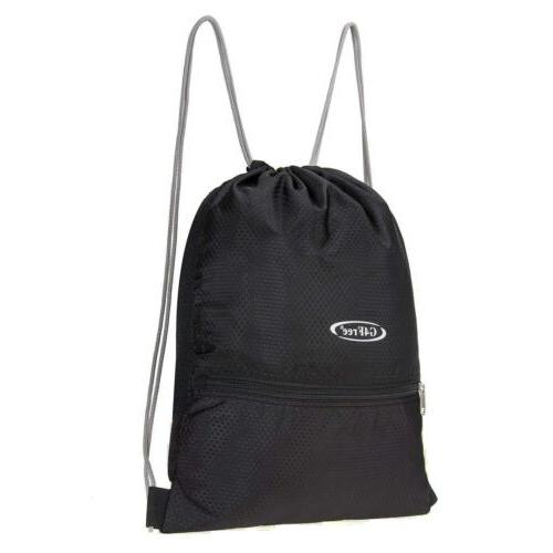 Black String Cinch Tote Sport