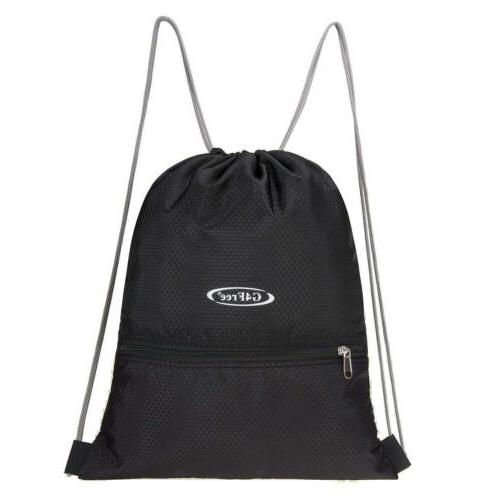 Black String Drawstring Backpack Cinch Tote Sport
