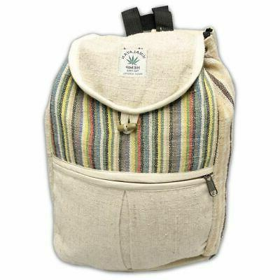 natural hemp small drawstring backpack book bag