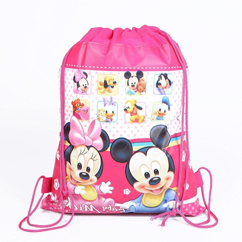 Disney new cartoon mickey mouse pattern bundle double-sided non-woven <font><b>bag</b></font> school gift