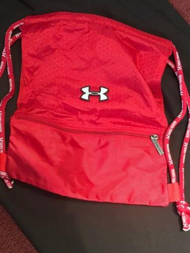 nwot red top loading drawstring backpack gym